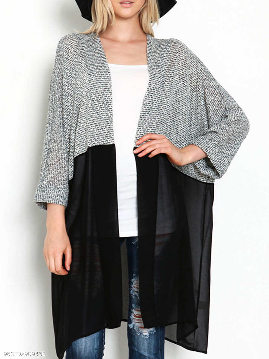 V Neck  Patchwork Knit Cardigans