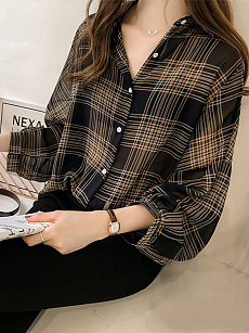 Spring Summer  Chiffon  Fold-Over Collar  See-Through  Plain  Long Sleeve Blouse