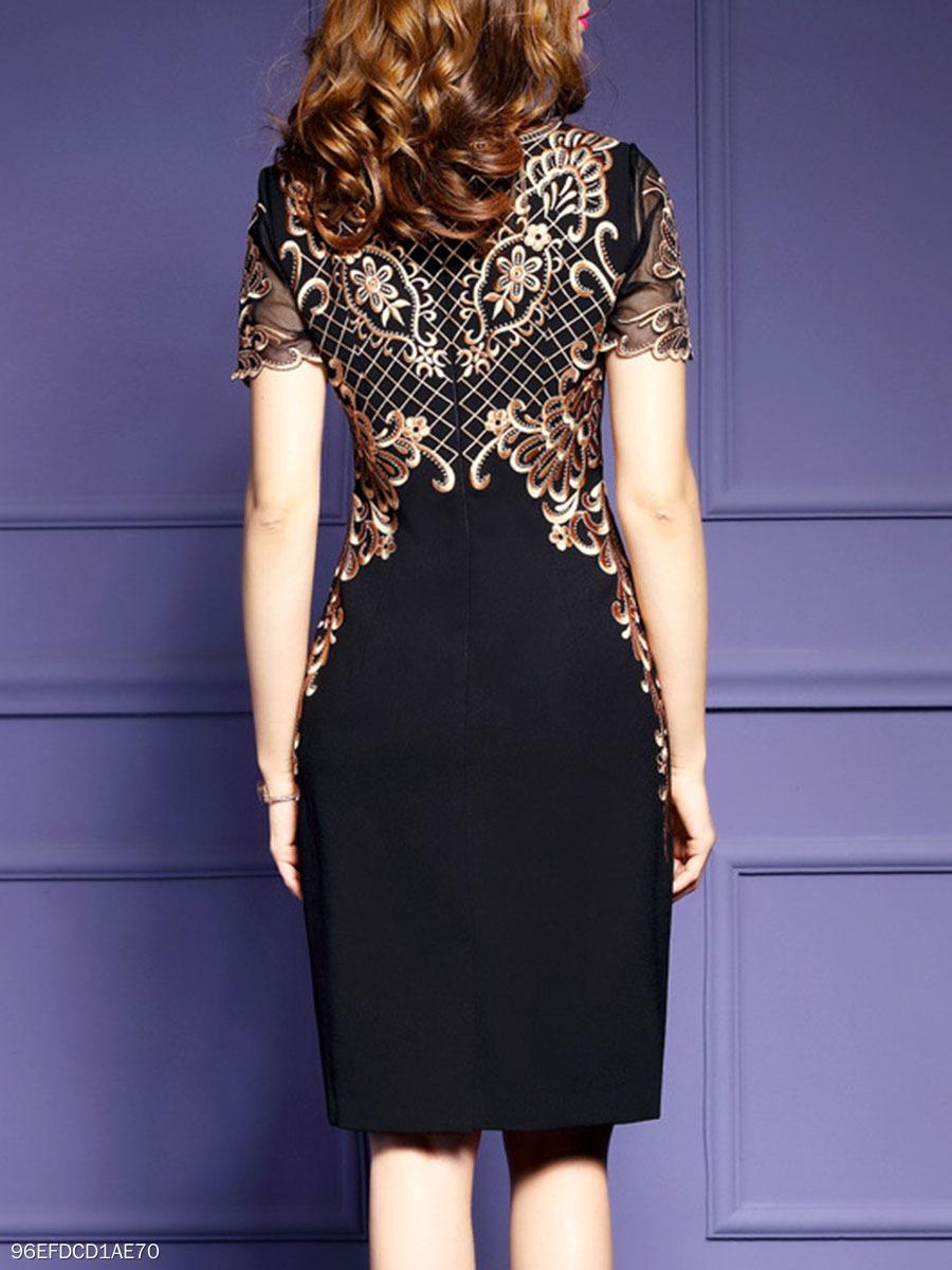 070aa93f92 Round Neck Abstract Print Bodycon Dress - fashionMia.com