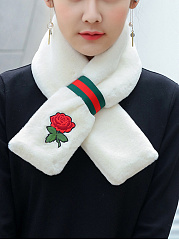 Thick Warm Faux Fur Scarf With Rose Embroidery