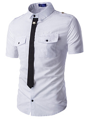 Flap Pocket Necktie Men Shirts