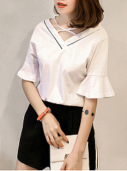 Summer  Polyester Spandex  Women  Surplice  Plain  Bell Sleeve Short Sleeve T-Shirts