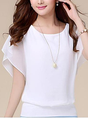Spring Summer  Blend  Women  Crew Neck  Plain  Short Sleeve Blouses
