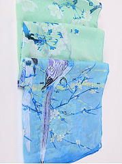 Chiffon Floral Bird Printed Scarves