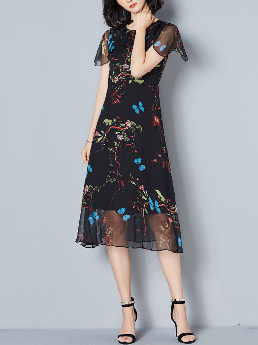 Courtly Hollow Out Printed Round Neck Chiffon Maxi Dress
