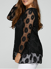 Round Neck  See-Through  Lace  Long Sleeve Plus Size T-Shirts
