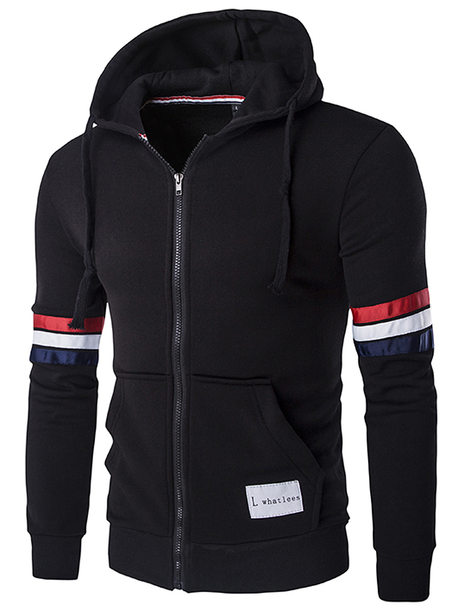 Hooded  Patch Pocket  Striped Men Coat