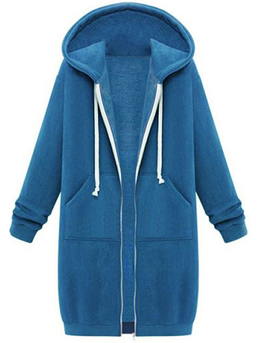 Longline Solid Patch Pocket Hoodie