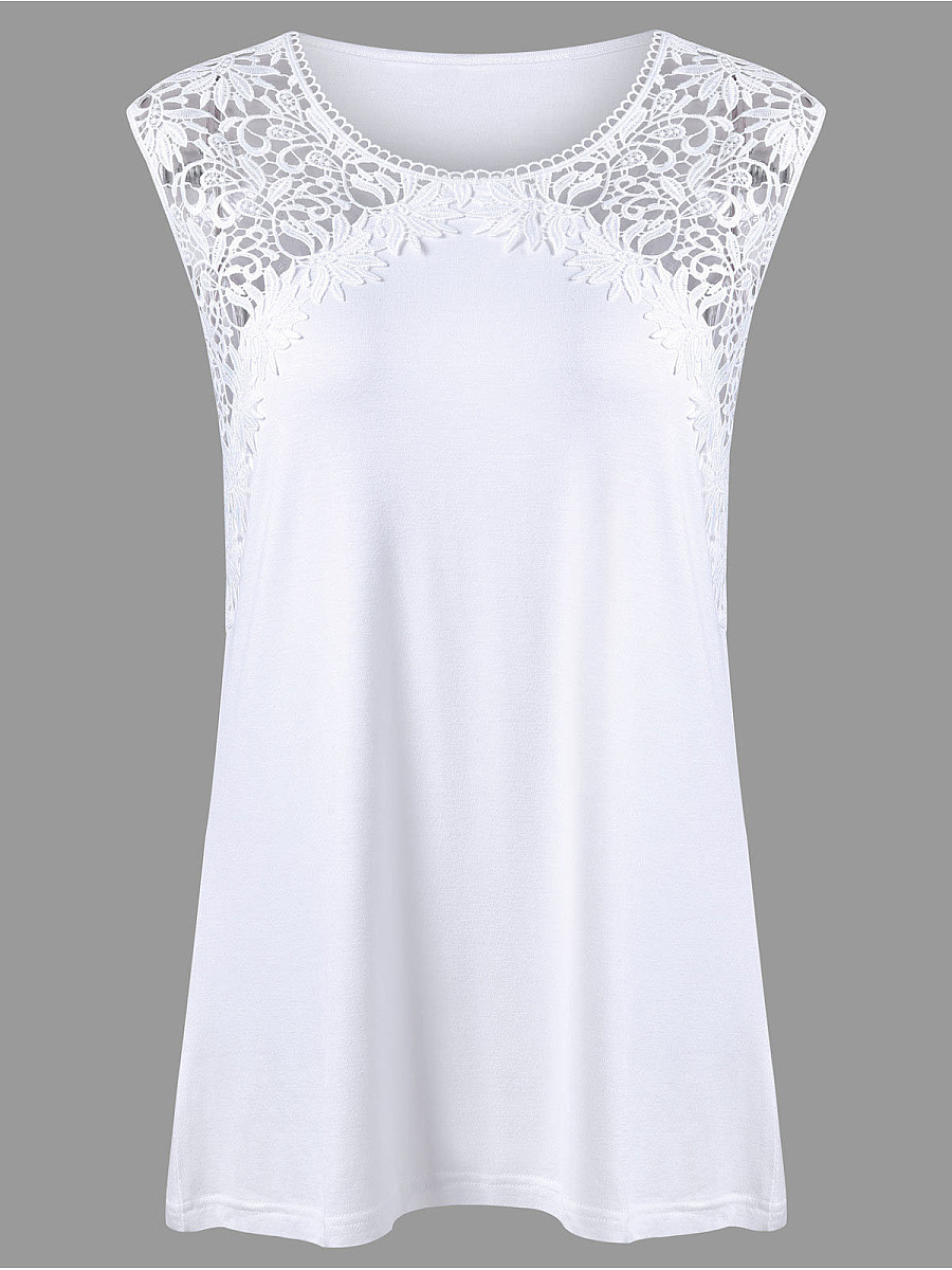 Round Neck  Decorative Lace Patchwork  Lace Sleeveless T-Shirt