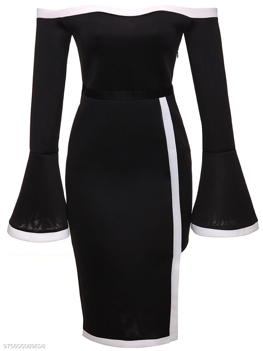 e55272c6bf6 Off Shoulder Asymmetric Hem Zips Plain Bodycon Dress - fashionMia.com