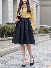 Inverted-Pleat-Plain-Flared-Midi-Skirt