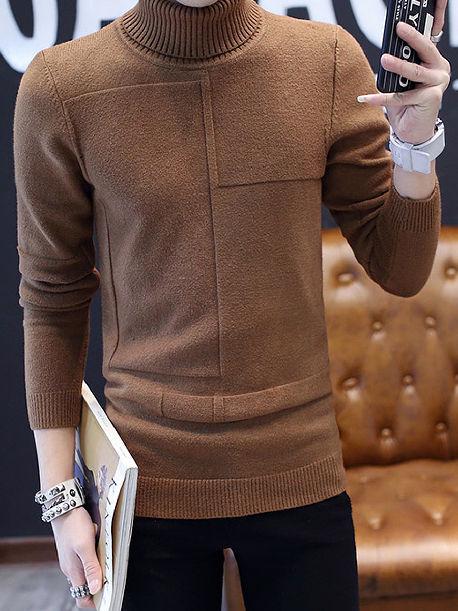 Fitted High Neck  Plain Men'S Sweater