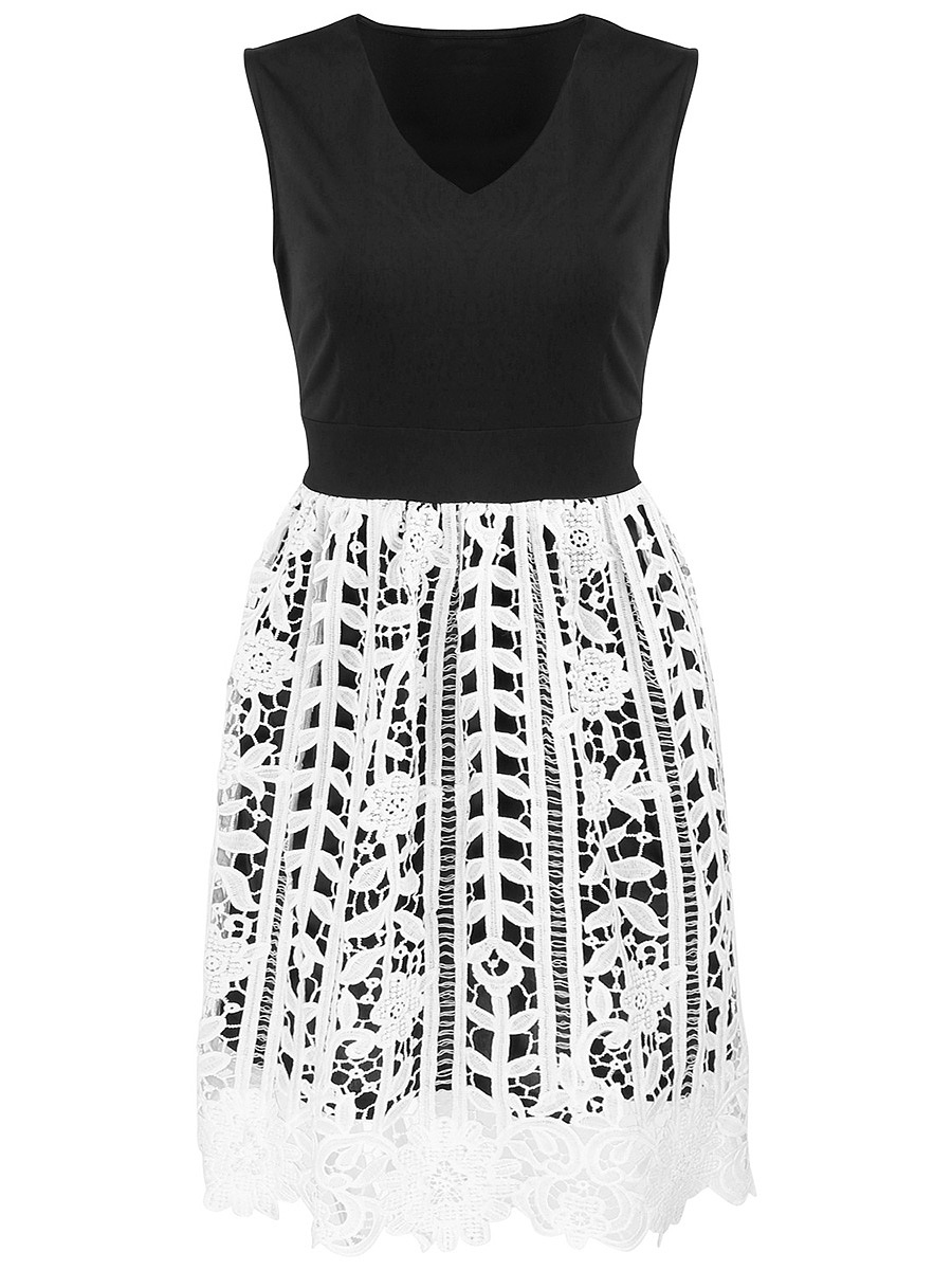 V-Neck Decorative Lace Patchwork Skater Dress