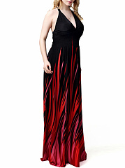 Celebrity  Empire Halter  Backless  Abstract Print  Plus Size  Maxi Dress