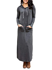 Hooded  Plain Casual Basic Maxi Dress