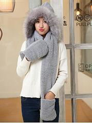 Women-Winter-Thicken-Scarf-Wrap-Hat-Gloves-Set-One-Piece-Wollen-Ourdoors-Long-Hooded-Scarfs-Gloves