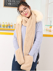 Women Winter Thicken Scarf Wrap Hat Gloves Set One Piece Wollen Ourdoors Long Hooded Scarfs Gloves