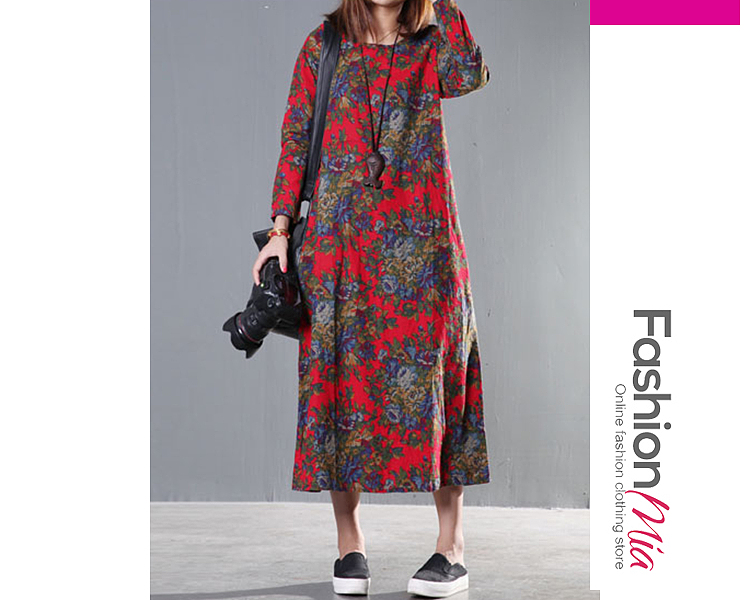 material:cotton/linen, collar&neckline:round neck, sleeve:long sleeve, pattern_type:printed, length:ankle-length, how_to_wash:cold gentle machine wash, supplementary_matters:all dimensions are measured manually with a deviation of 2 to 4cm., occasion:casual, season:autumn,winter, package_included:dress*1, lengthsleeve lengthbust