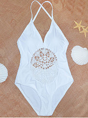 Hollow Out Summer Style Plain One Piece
