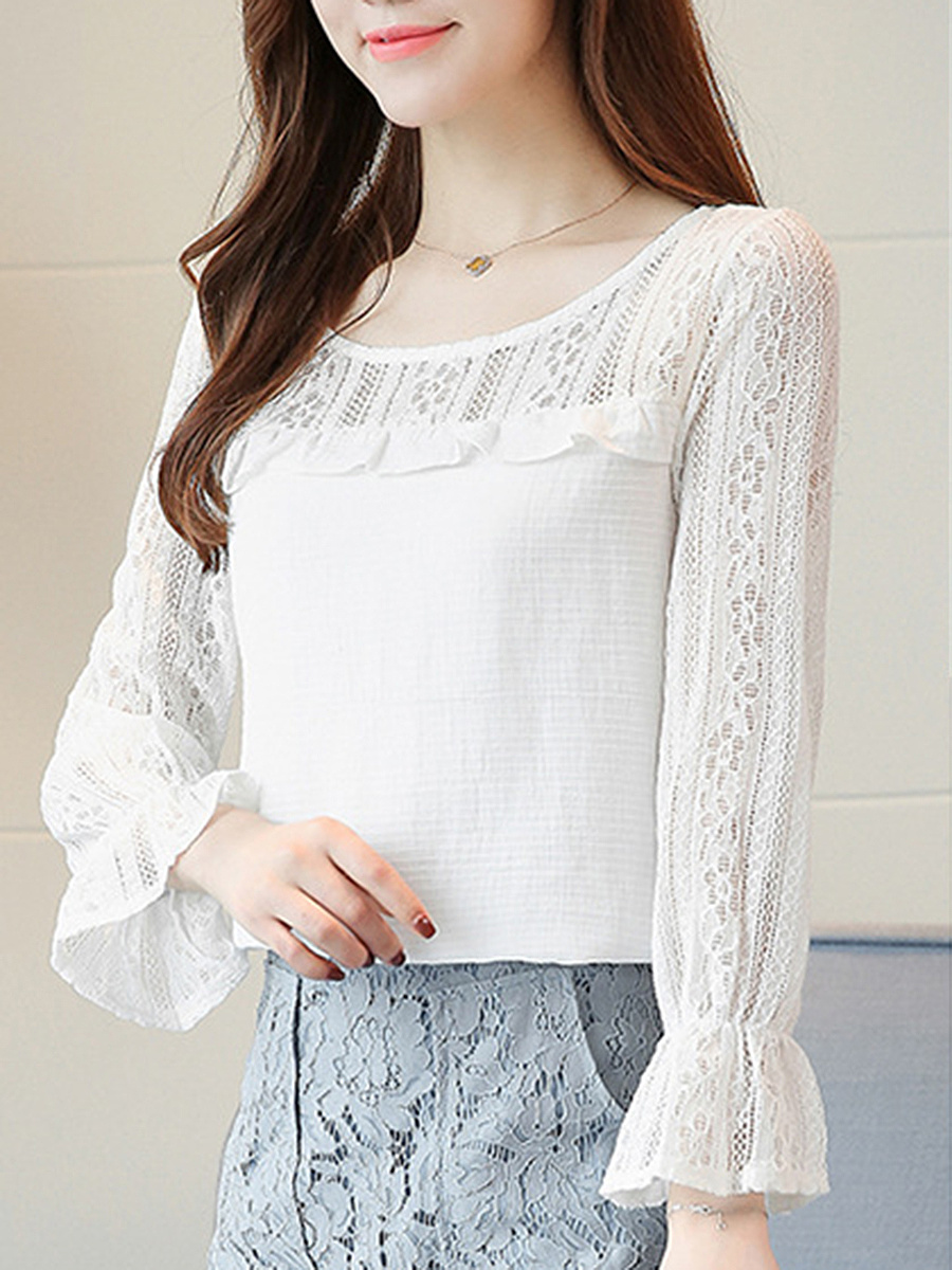 Round Neck Hollow Out Plain Bell Sleeve Blouse