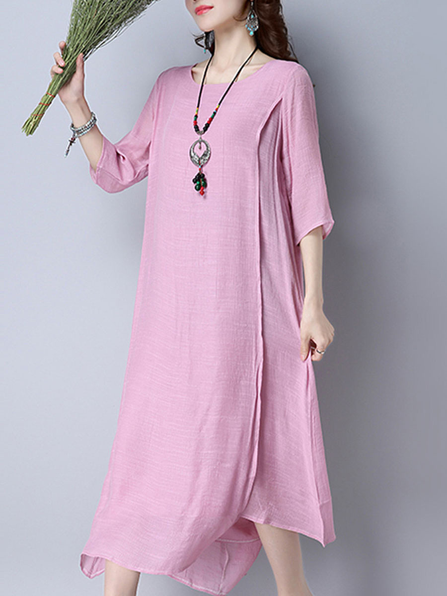 Solid Double Layer Half Sleeve Maxi Dress