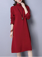 High Neck  Plain Shift Dress