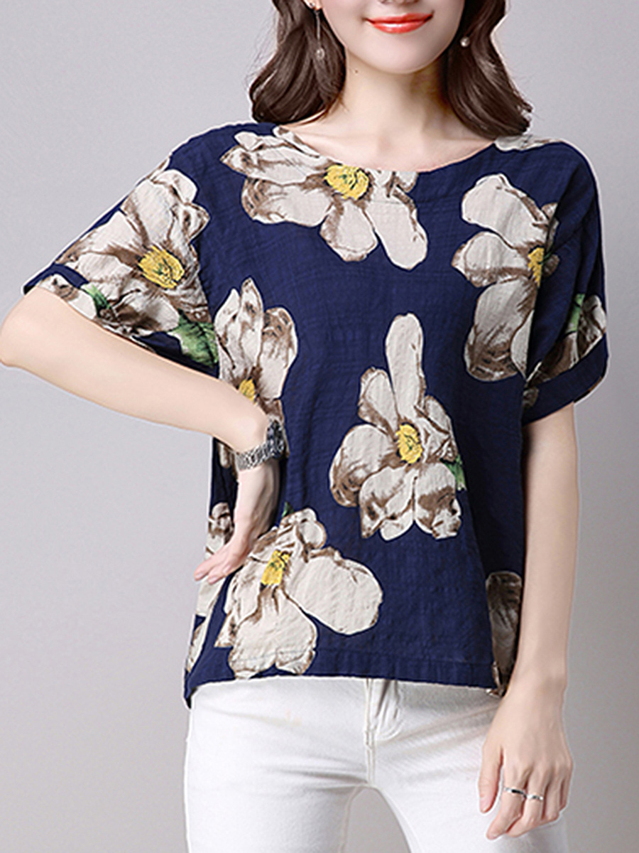 Round Neck Contrast Floral Printed Short Sleeve T-Shirt