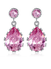 Pair Of Imitated Crystal Water Drop Earrings