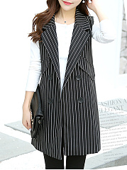 Notch Lapel  Double Breasted  Striped  Sleeveless Blazers