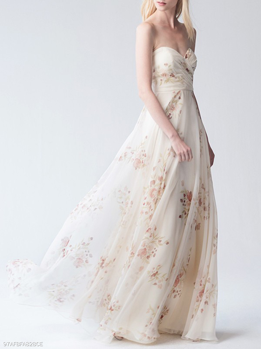 Strapless  Printed Evening Dress