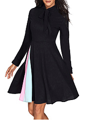 Tie Collar  Color Block Skater Dress