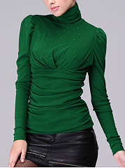 High Neck Ruched Plain Rhinestone Blouse