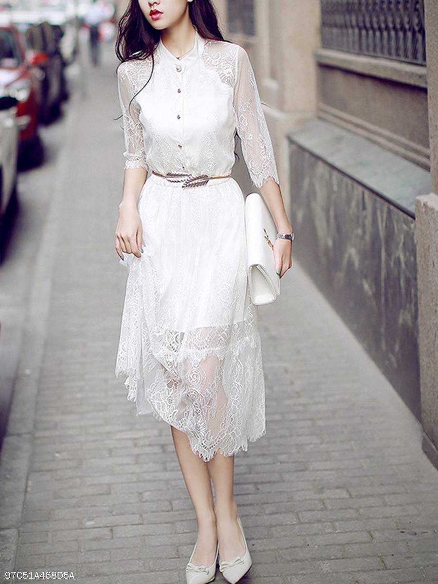 Band Collar  See-Through  Belt  Lace Plain Maxi Dress