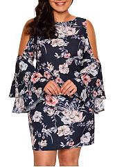 Open Shoulder Floral Printed Bell Sleeve Plus Size Bodycon Dress