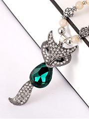 Fox Pendant Green Imitated Crystal Bead Necklace