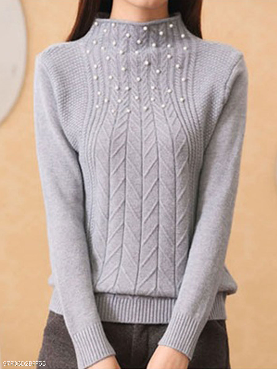 High Neck  Beading  Embossed  Long Sleeve Pullover