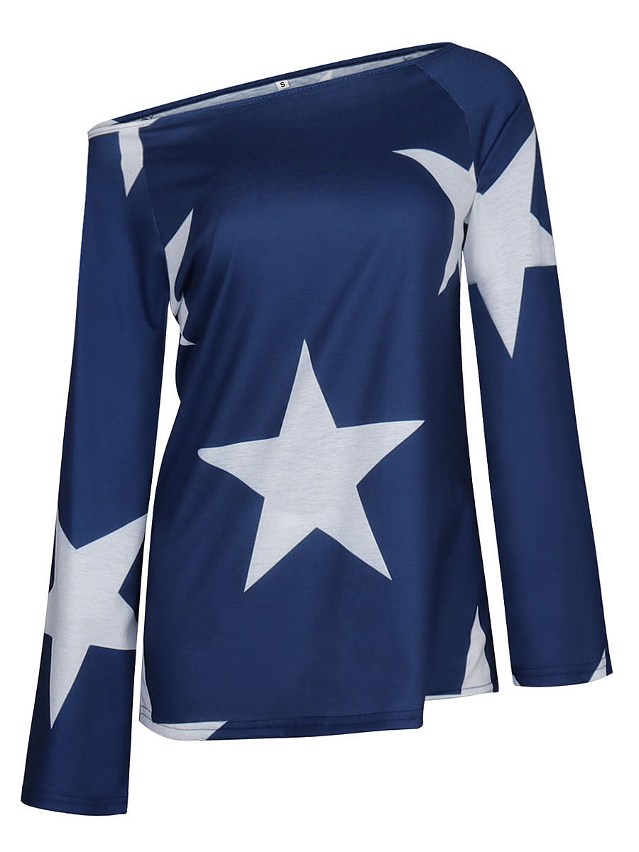 One Shoulder Star Printed Long Sleeve T-Shirt