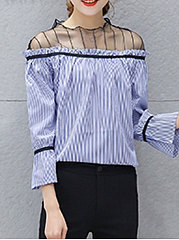 Spring Summer  Cotton  Women  High Neck  Patchwork See-Through  Striped  Three-Quarter Sleeve Blouses