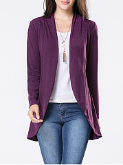 Collarless Longline Plain Cardigan