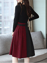 Round Neck  Patchwork  Houndstooth Skater Dress