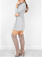 Cowl Neck  Plain Casual Midi Shift Dress