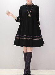 Band Collar  Contrast Trim  Tribal Printed  Polyester Shift Dress