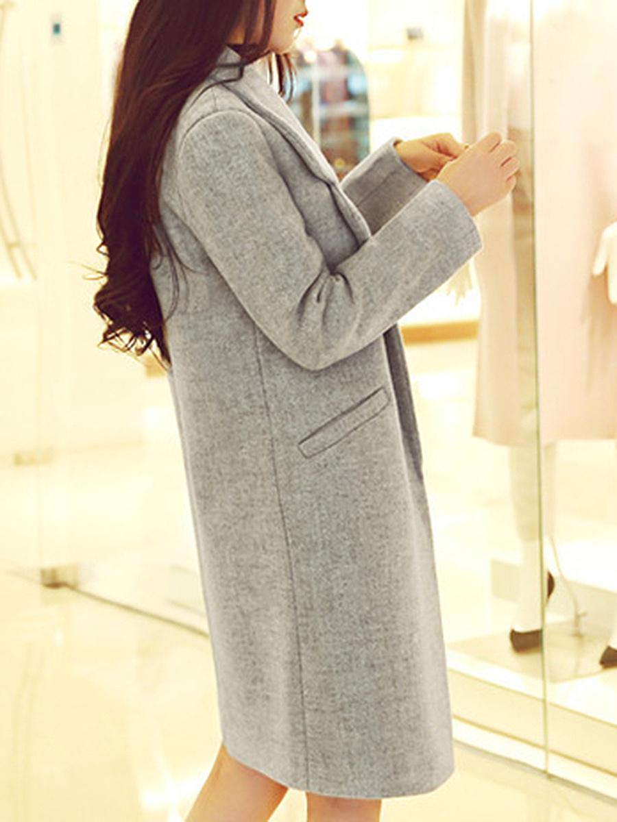 Lapel Solid Single Button Pocket Woolen Coat