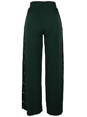 Hot Single Breasted High Slit Wide-Leg Casual Pants