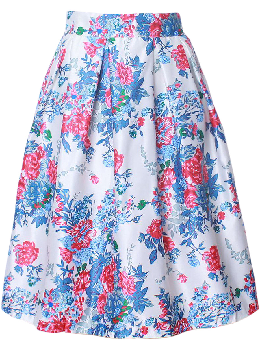 Chic Floral Printed Inverted Pleat Flared Midi Skirt