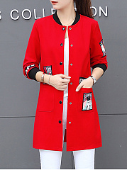 Band Collar  Single Breasted  Abstract Print Trench Coat