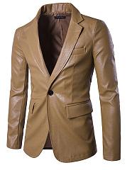 Notch-Lapel-Single-Button-Plain-PU-Leather-Men-Blazer