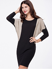 Designed Round Neck Color Block Bodycon Dress