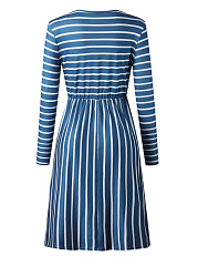 Round Neck  Patch Pocket  Striped Skater Dress