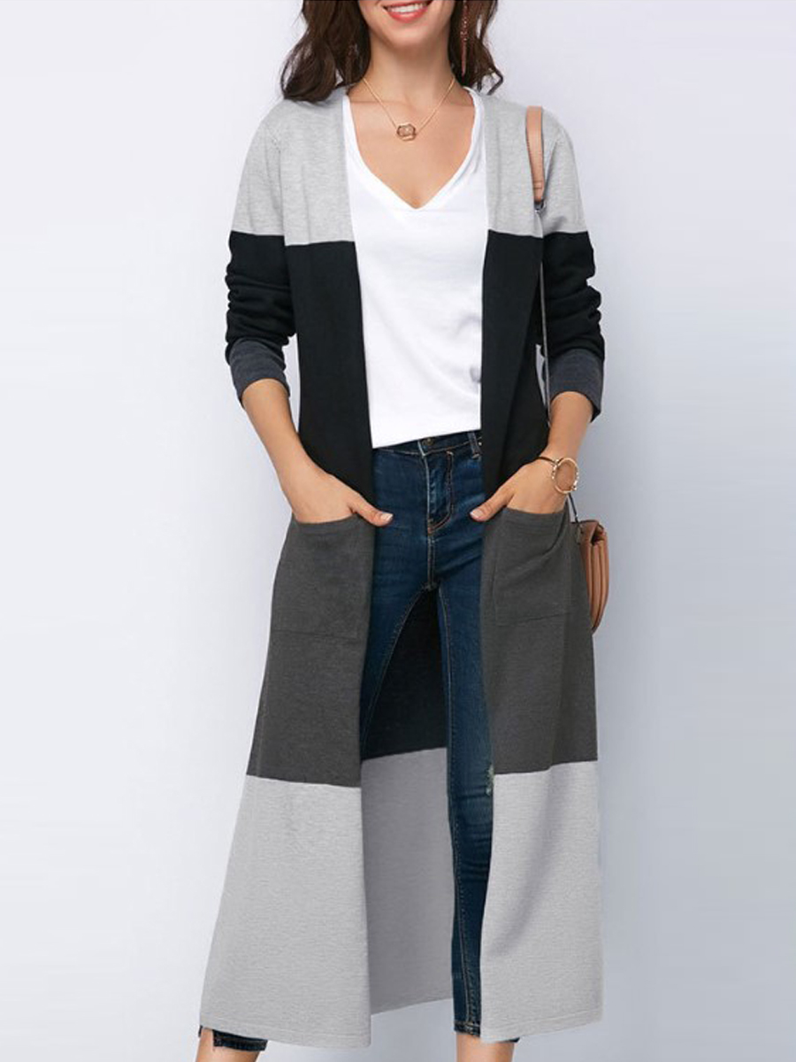 Fashion Splice Color Casual Long Cardigans